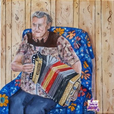 Accordion player12x12margielewisart